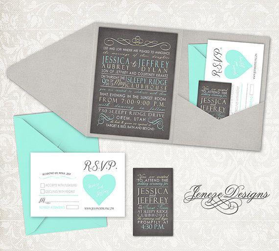 Wedding Invitation  Pocket Fold by Jeneze on Etsy, $35.00