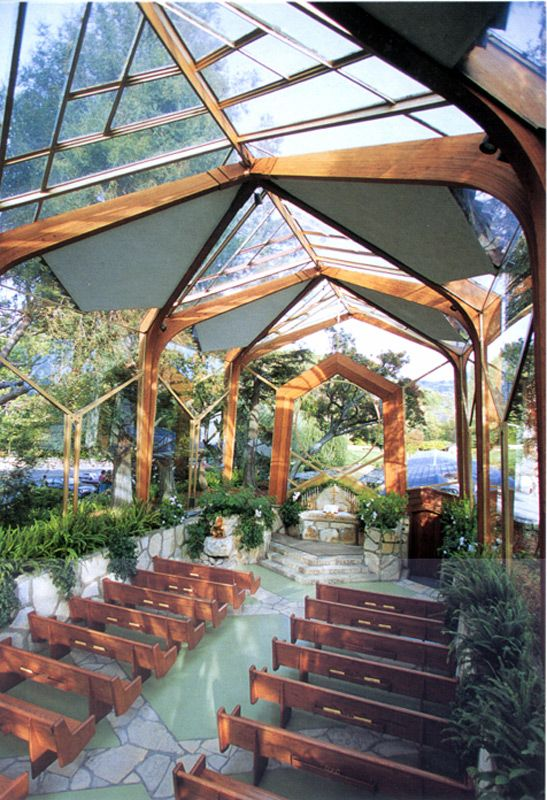 "Chapel Architect Lloyd Wright, son of the pioneering American architect Frank Lloyd Wright, conceived the design of Wayfarers Chapel as a ""tree chapel"", a natural sanctuary set in the midst of a forest. (Rancho Palos Verdes, CA)"
