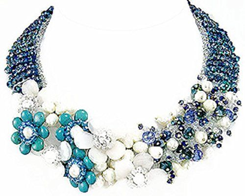 Turquoise (Reconstructed) White Jade Crystal Glass fresh Water Pearls Seed Beads Glass Women's Chunky Collar Floral Statement Necklace 16 inches Other http://www.amazon.co.uk/dp/B018BRMVOQ/ref=cm_sw_r_pi_dp_bcx7wb14MVXVR