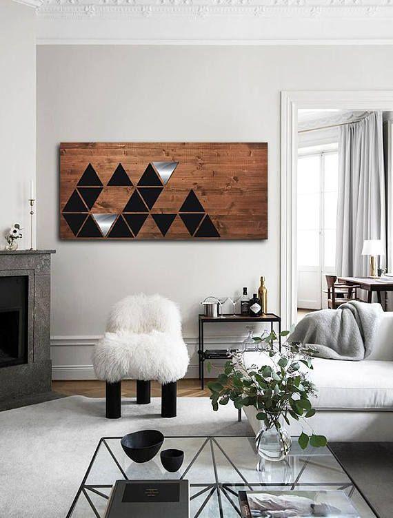 Wooden Geometric Wall Art Wood Wall Art Metal Wood Wall Art Mid