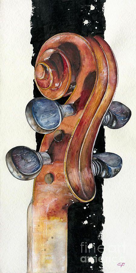 Violin 02 Elena Yakubovich Painting - Violin 02 Elena Yakubovich Fine Art Print. Wow, beautiful, so elegant
