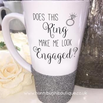 Does This Ring Make Me Look Engaged? Glitter Latte Mug