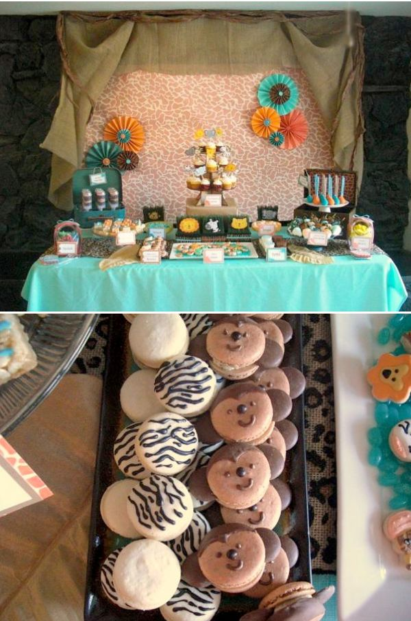 Jungle safari themed 4th birthday party via Karas Party Ideas.  I like the mix of colors and prints.  Definitely teal!