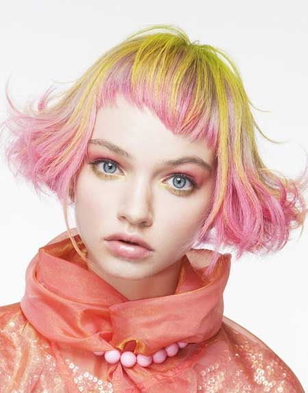This is a neat use of pastels & a cute cut. I'd want to add a darker tone somewhere, though, to match my dark eyebrows.