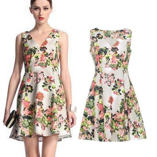 New Women Lady Spring Flower Fl Print Empired High Wasit Tulip Fit Flare Vest Tank Party