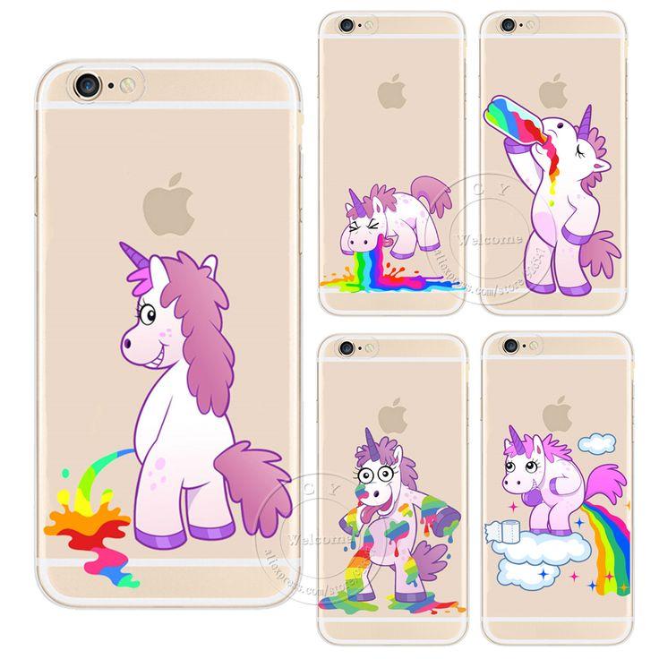 Pour Apple iPhone 4 4S 5 5S SE 5C 6 6 S 7 Plus 6 SPlus Hippopotame Mignon Arc-En-Licorne Cheval En Plastique Transparent Cas de Couverture Arrière