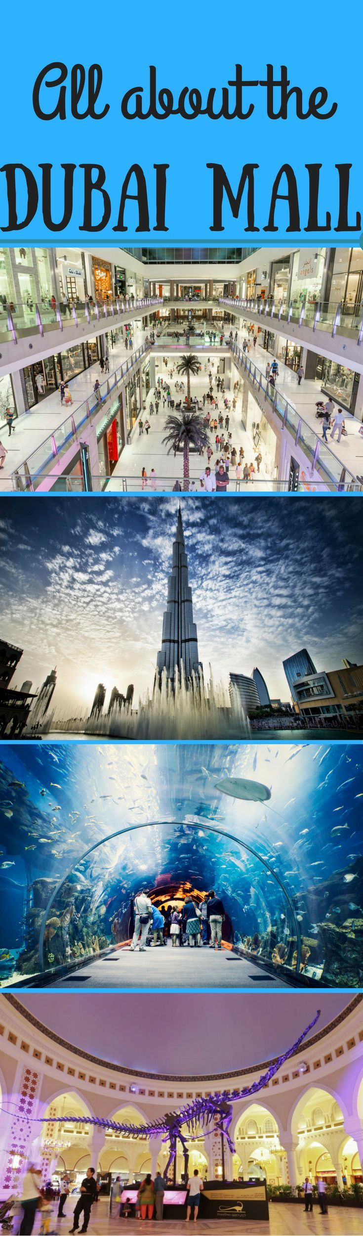 The Dubai Mall is one of the biggest in the world and one of the top attractions in Dubai. Inside there is the Dubai Aquarium, the Dubai Dino, and plenty of shops. Outside you can see the stunning Dubai fountains by the Burj Khalifa. Find out more about t