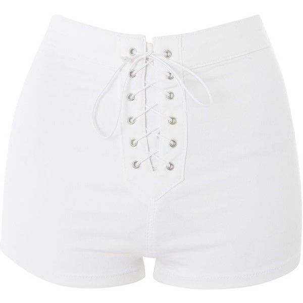 TopShop Moto Lace Up Joni Shorts (£42) ❤ liked on Polyvore featuring shorts, bottoms, short, white, high-waisted shorts, high-rise shorts, white short shorts, highwaist shorts and white shorts