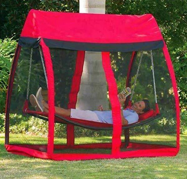 This hammock with canopy is perfect for summer relaxing.