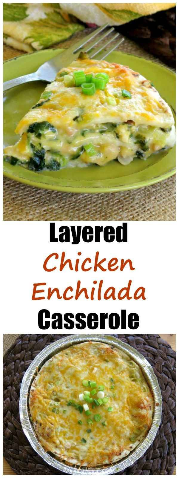 Layered Chicken Enchilada Pie recipe is a casserole twist on this Mexican favorite. Tips to make and freeze so you can enjoy this comfort food any time! #chickenenchilada #casserole #mexican