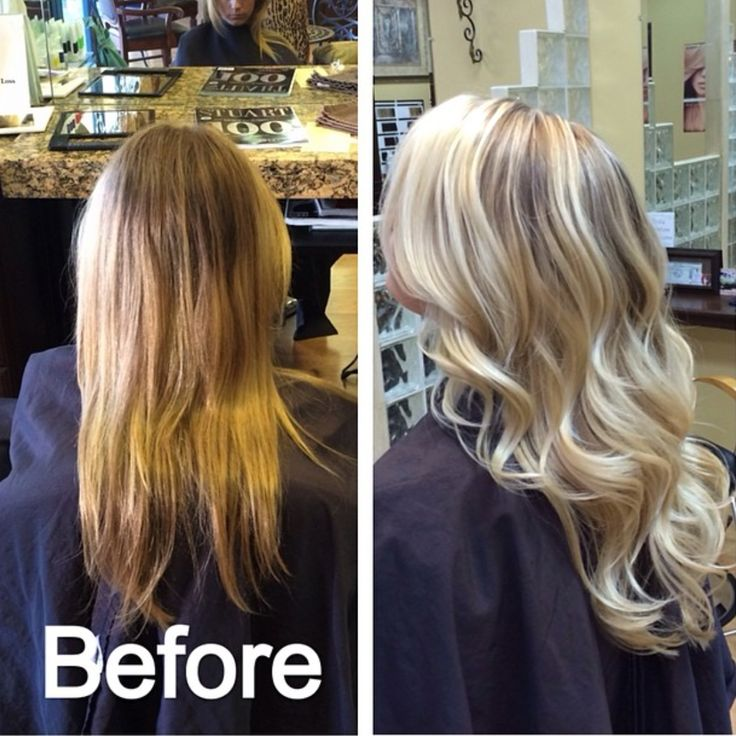 Fantastic long blonde hair extensions before and after ...
