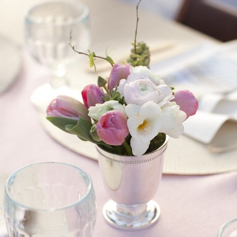 Silver Footed Vase or egg cups at individual place settings