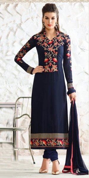 Victorious Blue Georgette Straight Suit.