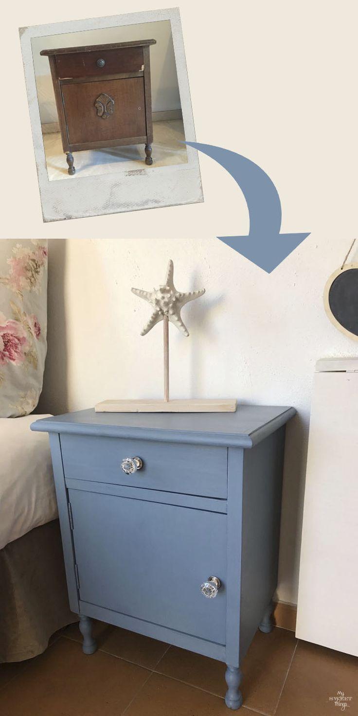 Una vieja mesita de noche se transforma en una pieza elegante con pintura de leche y tiradores de cristal · Via www.sweethings.net