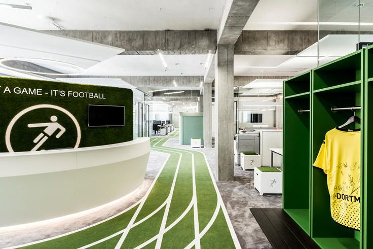 This office (of a sports app) has a grass running track. How cool is that!