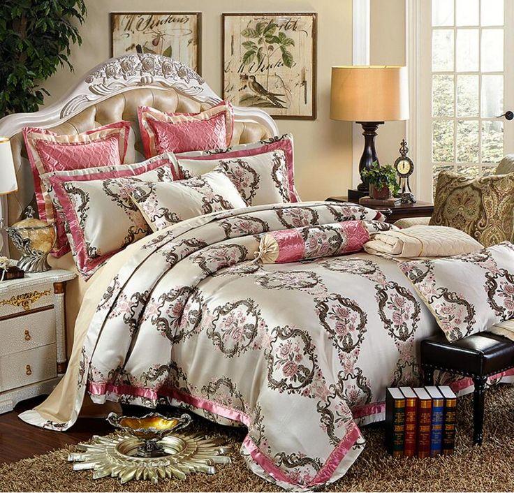 4/6Pcs Silk Cotton Jacquard Luxury Bedding set Queen King