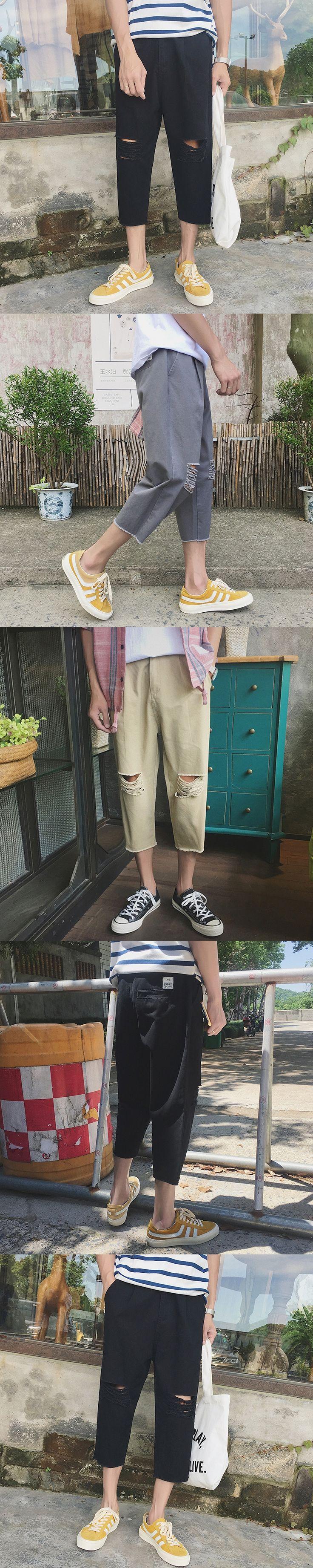 2017summer men casual pants Korean version of the knee broken holes water seven points small trousers hot sales grey/black/khaki