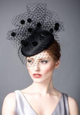Rachel Trevor Morgan AW14: R14W16 - Black silk taffeta beret pillbox with pompom veil