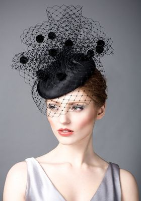 Rachel Trevor Morgan AW14: R14W16 - Black silk taffeta beret pillbox with pompom veil