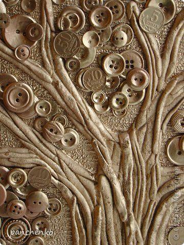Картина панно рисунок 23 февраля 8 марта День рождения Новый год Коллаж Пуговичное дерево Пуговицы Тесто соленое фото 2