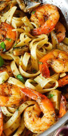 Pesto Shrimp Pasta with Garlic Mushroom Sauce
