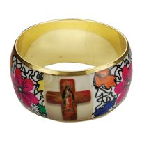 """2 ¾"""" Brass Our Lady Of Guadalupe Cuff Bracelet"""