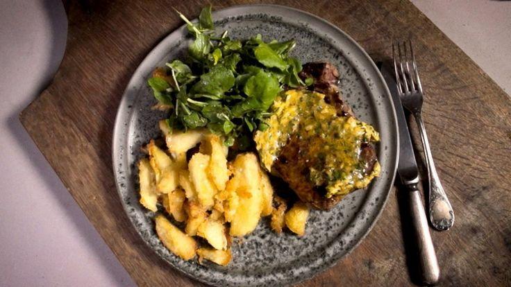 Adam Liaw's steak frites with Cafe de Paris butter