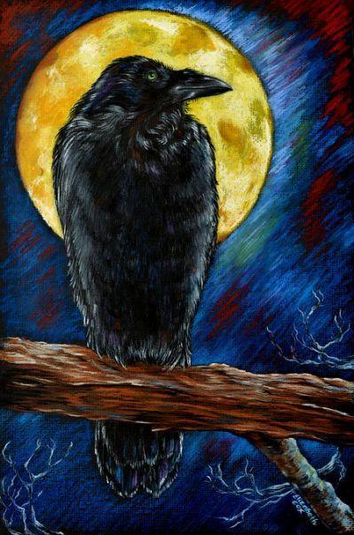 Raven Moon Mixed Media by Elizabeth