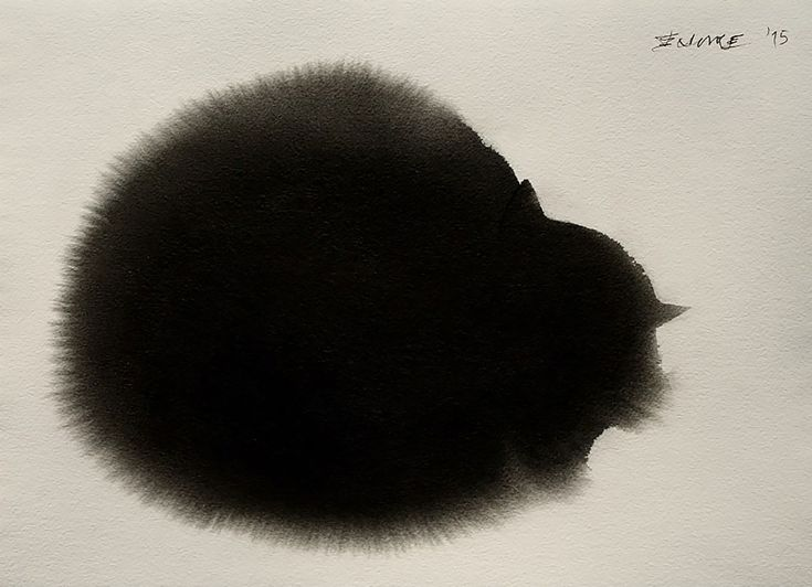 Serbian artist Endre Penovác renders fluffy felines with stark black watercolors and ink.