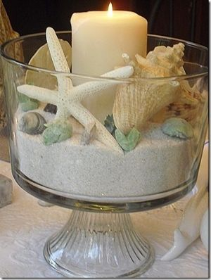 beachy container display.  sand, shells and candles. good use for sand and shells brought back from the beach