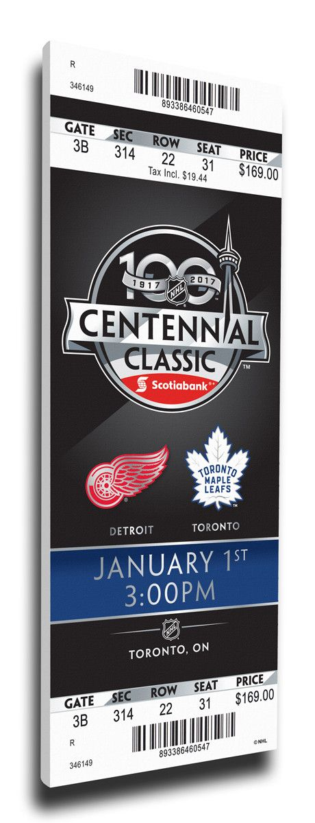 Red Wings vs Maple Leafs Wall Art - 2017 NHL Centennial Classic Canvas Mega Ticket