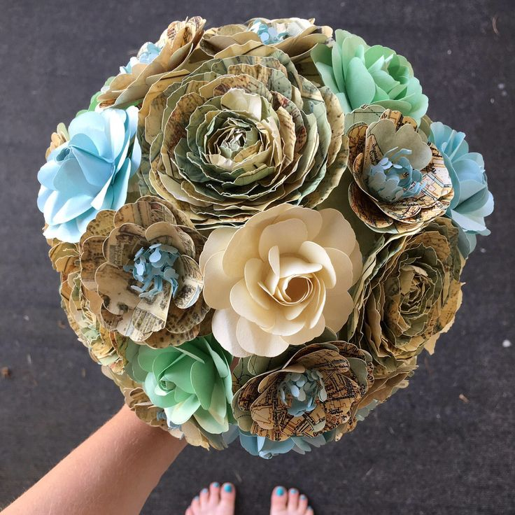 Vintage map paper bouquet, paper peonies, roses, ranunculus, bridal bouquet, wedding flowers, vintage maps, cream, brown, gold, rustic by MyWoollyMammoth on Etsy https://www.etsy.com/listing/555983238/vintage-map-paper-bouquet-paper-peonies