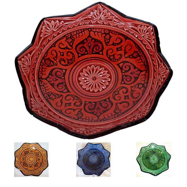 Mediterranean Ceramic 'Isabella' Engraved Decorative Plate (Morocco) (Green)
