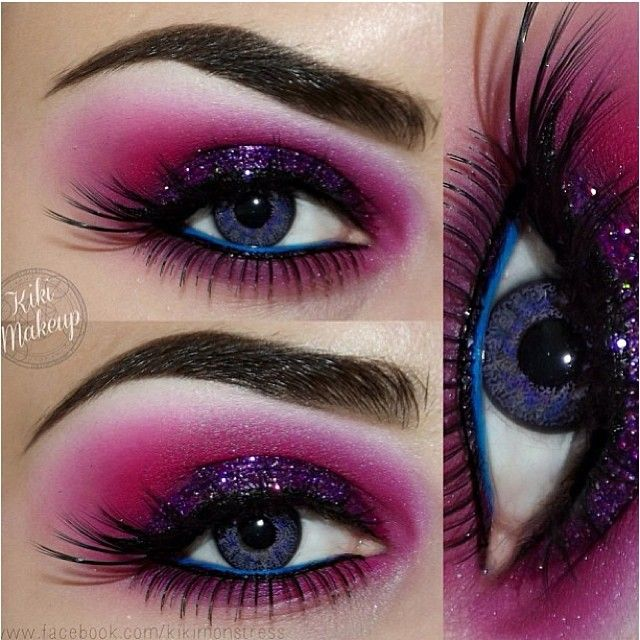 sugarpillmakeup:  Breathtaking look by @luciferismydad using #Sugarpill Poison Plum with @Brandy Rennick Voss Stella glitter on top, @bscbosskathy UV pink pigment and @anastasiabeverlyhills Hypercolor in pink. For the perfect finishing touch, she used Sugarpill Afterparty turquoise to line her waterline. Perfect! #eotd