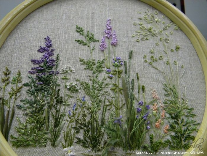 I love the muted palette. Beautiful greenery in this piece and the stitches are so lush and dense.