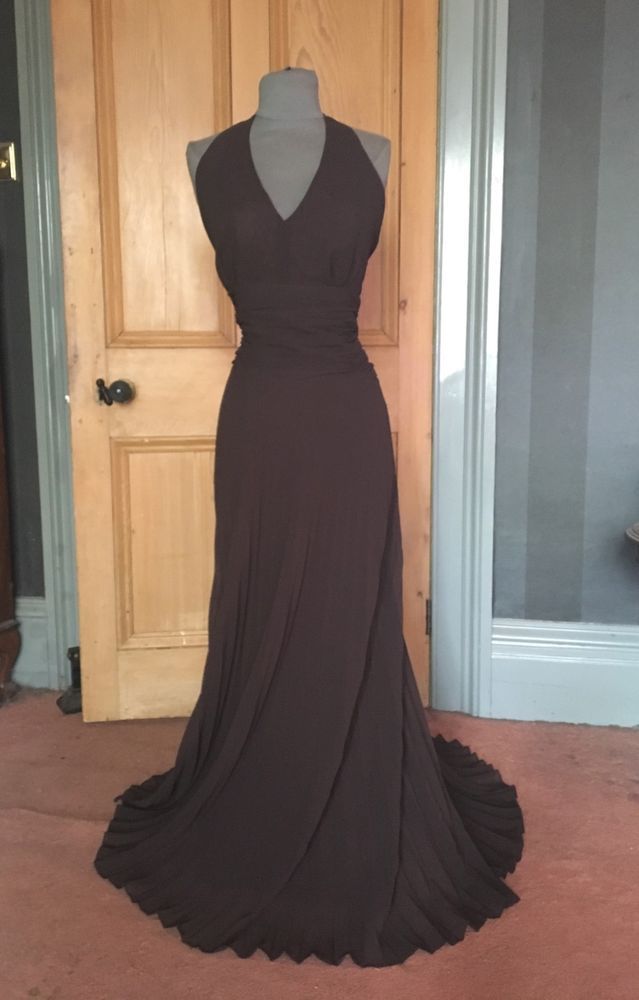 Gorgeous Bnwt Monsoon Sunset Long Chocolate Evening Dress Size 16