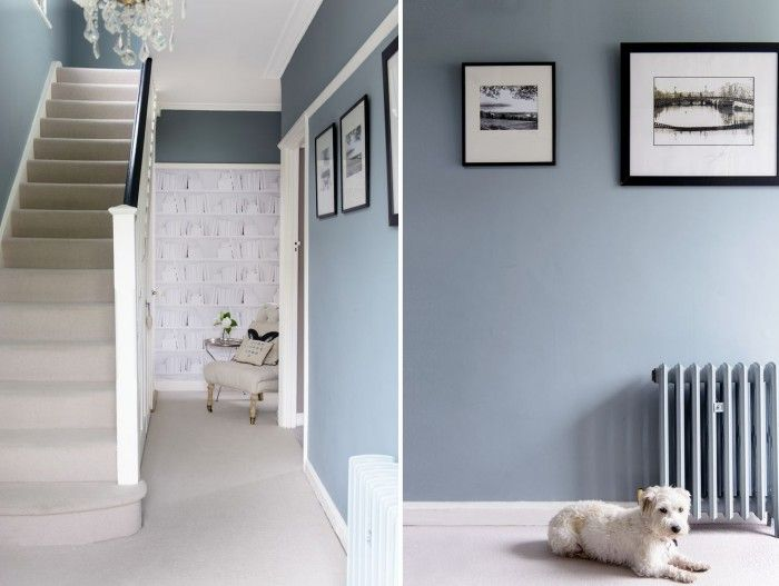 Glamorous blue hallway is now a welcoming space