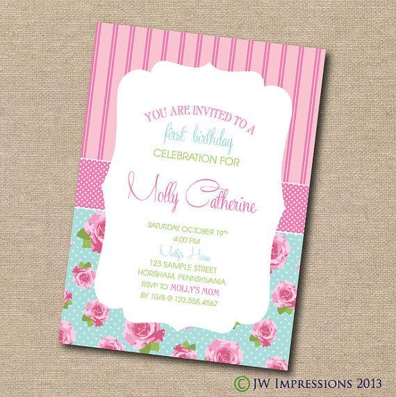 Floral Shabby Chic Invitation - DIY PRINTABLE