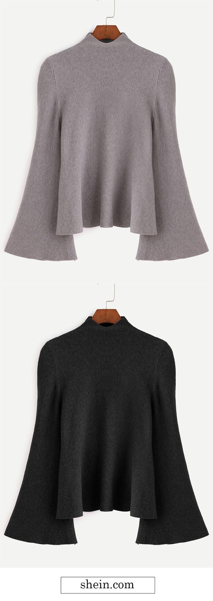 Mock Neck Bell Sleeve Jersey Sweater.