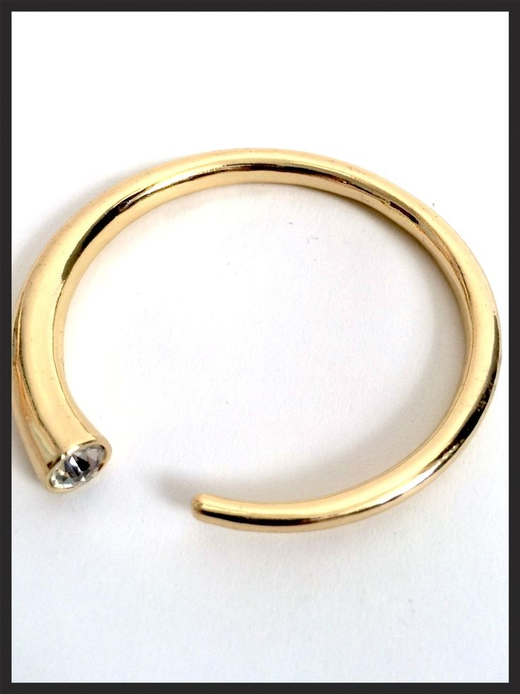Sculptural Gold Bangle with Inset Rhinestone