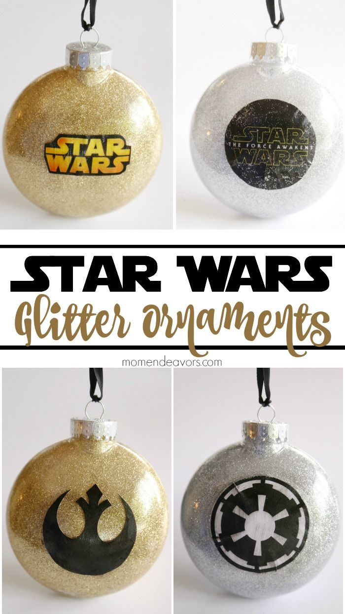 DIY Star Wars Glitter Ornaments!! SO cool - directions and free printables included!
