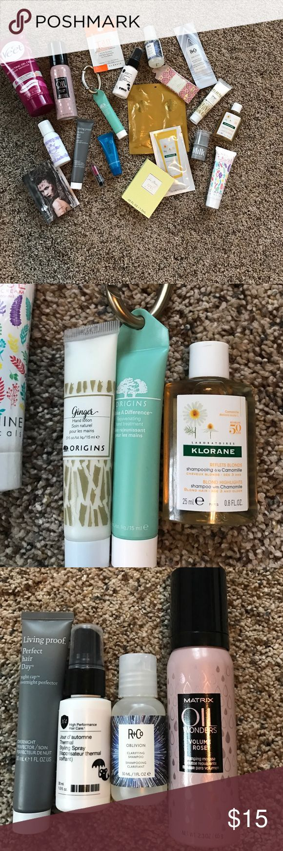 Beauty sample bundle Sample size and trial size and 1 full size product. Matrix, Origins, Living Proof, Sephora, Milk, Oribe, and more. Lotions, hair removal, self tanner, mouse, shampoos and conditioners, lipstick and blush, all new! Best way to find your fav product Makeup