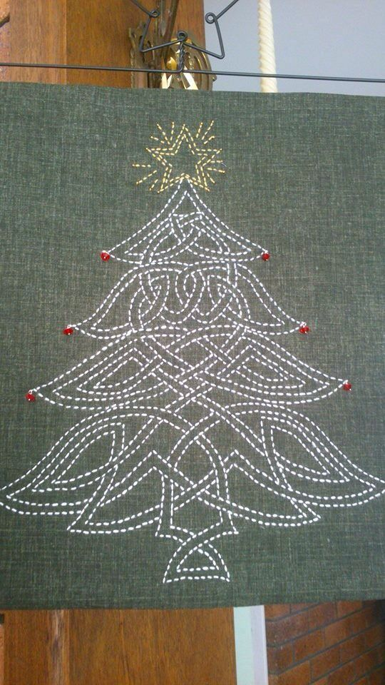 Beautiful Christmas Tree stitched by Wendy for Christmas 2013