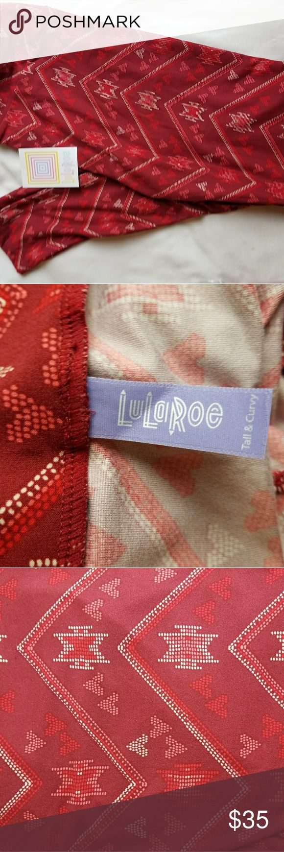 LuLaRoe Tall & Curvy Valentine Red Aztec Leggings NWT TC valentine red white aztec zigzag hearts leggings .B7 LuLaRoe Pants Leggings