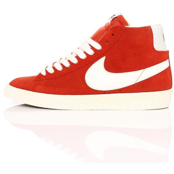 Nike Wmns Blazer Mid Suede Vintage Dragon Red 518171-600 ❤ liked on Polyvore