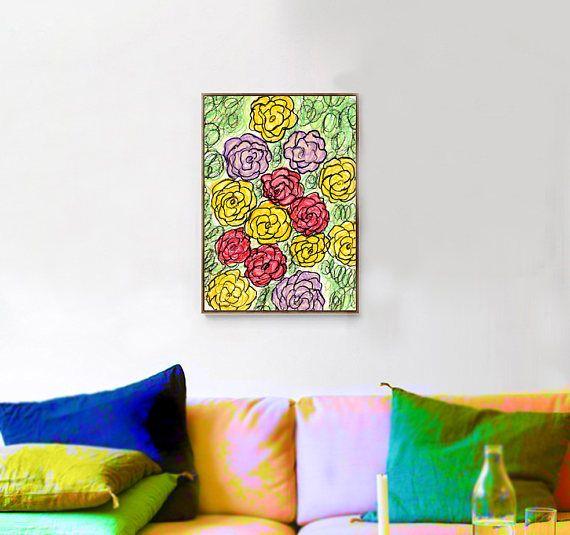 Stampa colorata fiori astratti, natura stampa astratta, arte stampabile, stampa art deco, arredamento casa, stampa da appendere, regalo