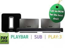 Sonos Wireless 5.1 System - 2 x PLAY3 Wireless Hifi System Blk, PLAYBAR Soundbar & SUB Subwoofer
