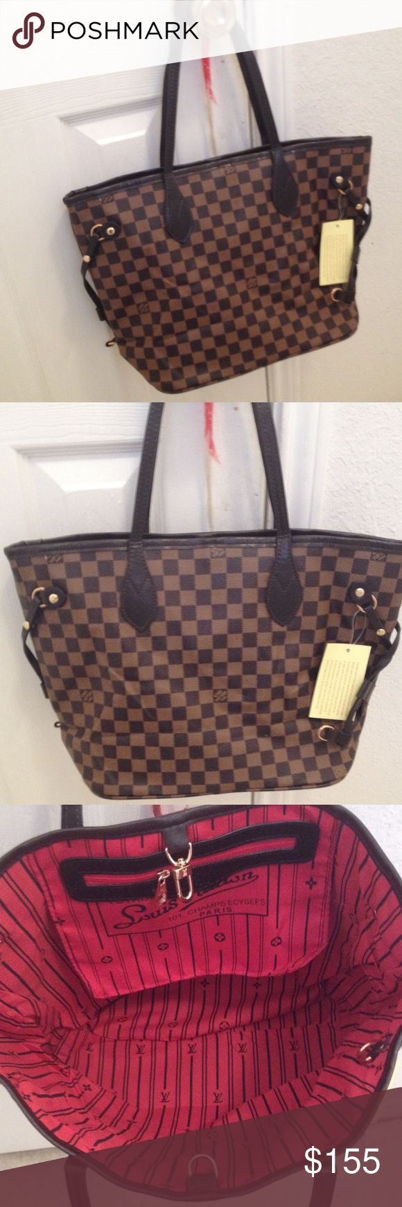 Red checked mm bag New!! Cute bag. Price reflect auth. I accepting reasonable offer Louis Vuitton Bags Shoulder Bags