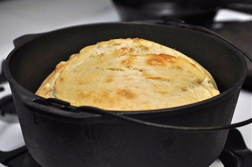 No knead bread baked in a dutch oven.  This whole blog is pretty awesome.