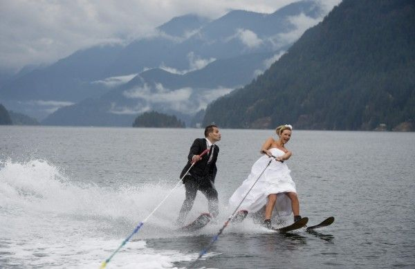 Water skiing bride and groom, by Jonathan Hayward